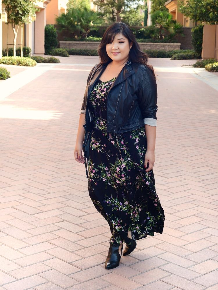 Curvy Girl Chic Plus Size Fall New Look Floral Maxi Dress And Gap