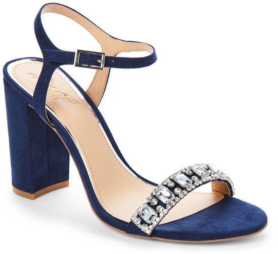 Badgley Mischka Navy Hendricks Embellished Block Heel Sandals Wedding Shoes Heels Blue Block Heels Navy Wedding Shoes