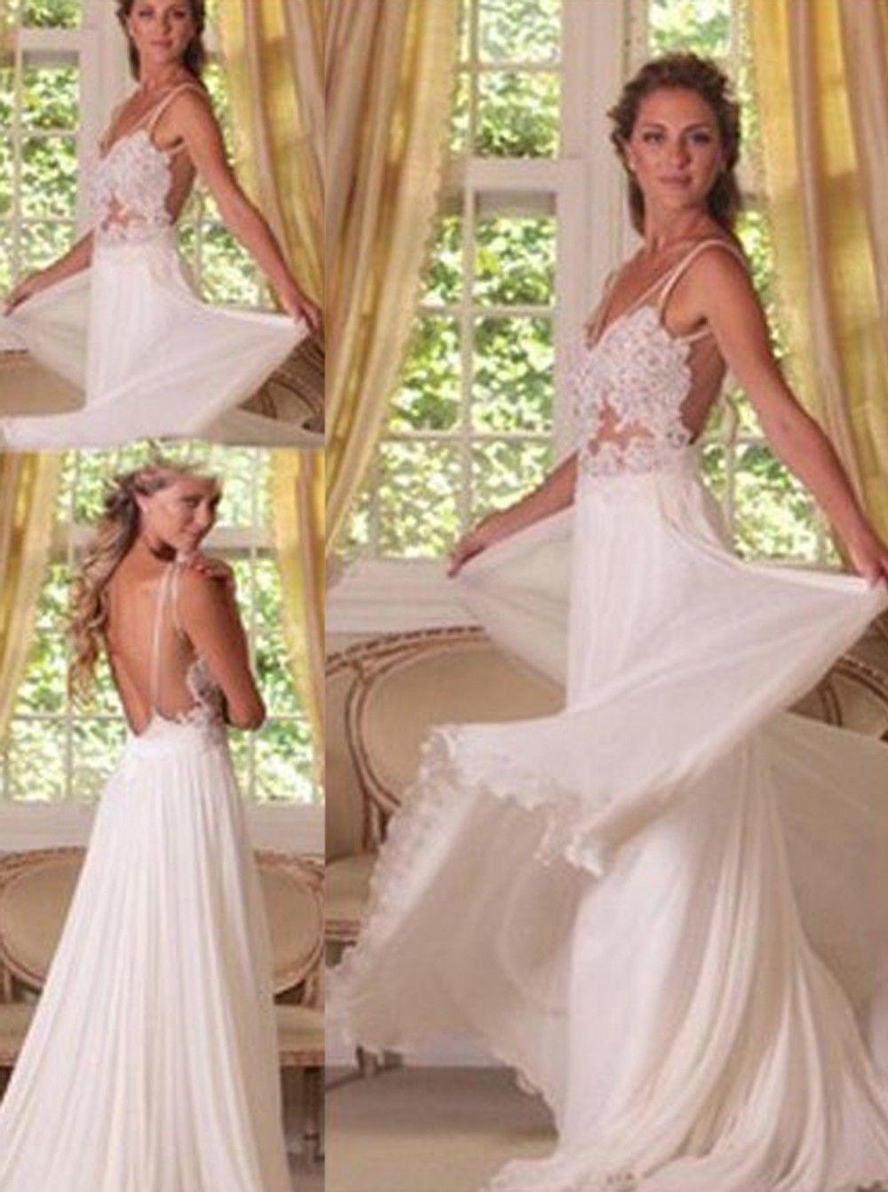 A line chiffon wedding dress  Simpledress Sexy White Aline Lace Applique Long Backless Chiffon