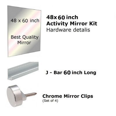 Fab Glass and Mirror Activity Mirror Kit for Gym and Dance with Safety Backing Size: