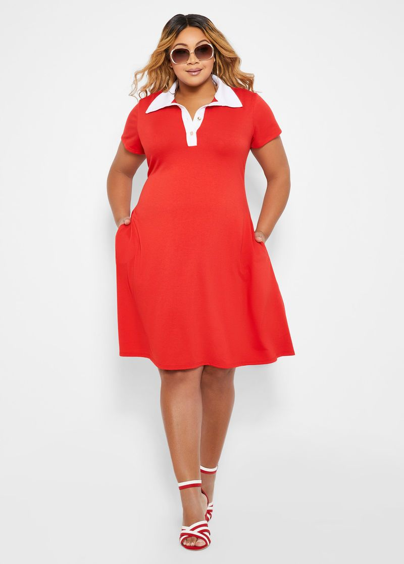 Short Sleeve Color Block Polo Dress in 2019 | plus-size spring ...