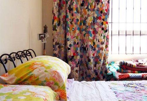 Hexagon quilted curtains