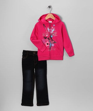 Pink Guitar Zip-Up Hoodie & Jeans - Infant, Toddler & Girls