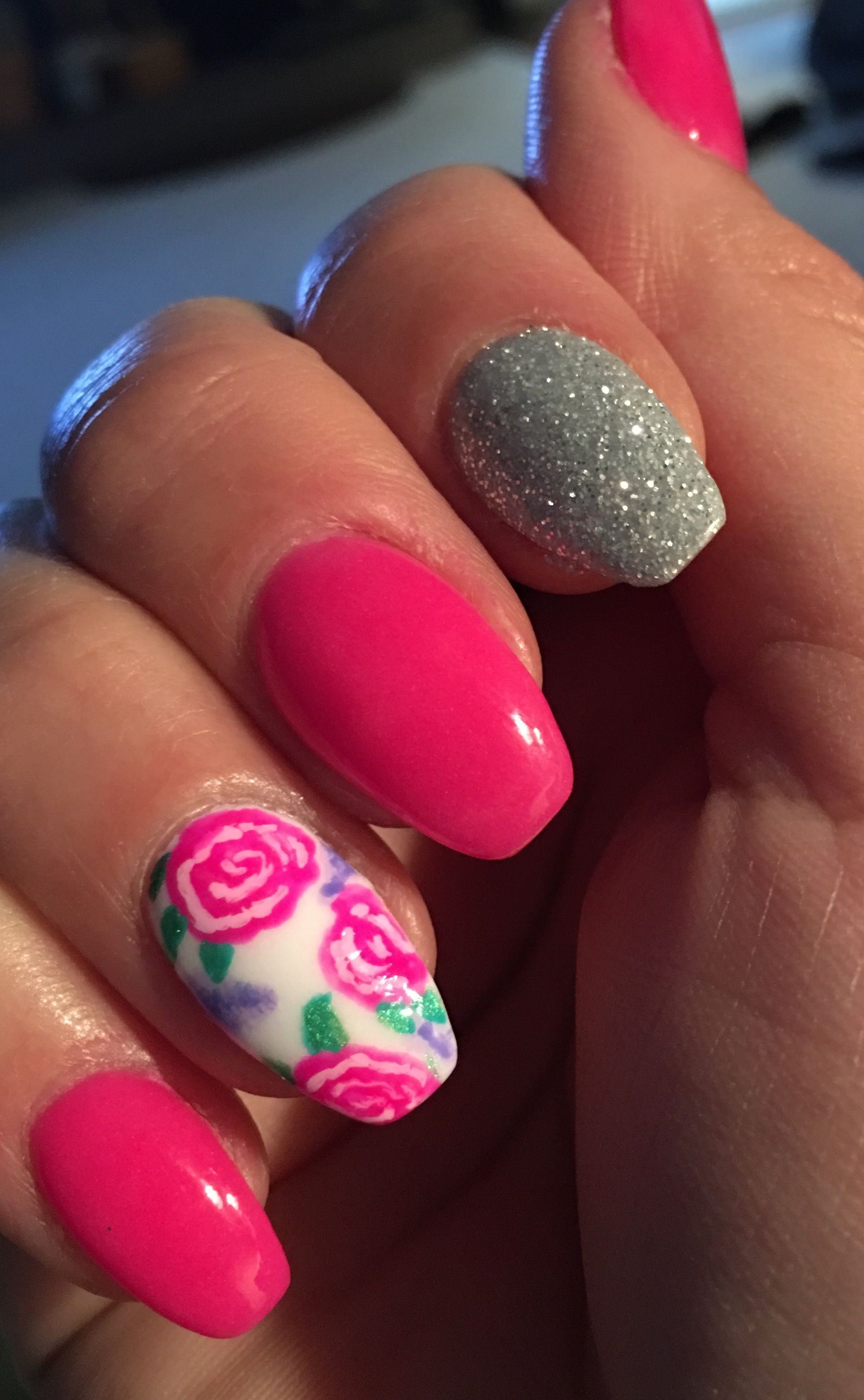 Pink & Silver Sparkle with Flower Nail Art Nexgen Nails   Love Nail ...
