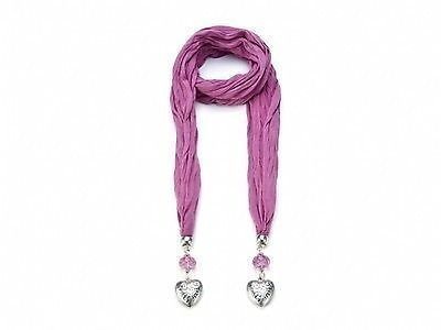 Pink Jewel Fashion Scarf with Silver colour Heart Brand New