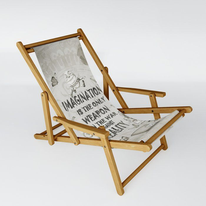 Imagination - Vintage Black & White - Alice In Wonderland Patio Sling Chair by Gypsy Queen - One Size