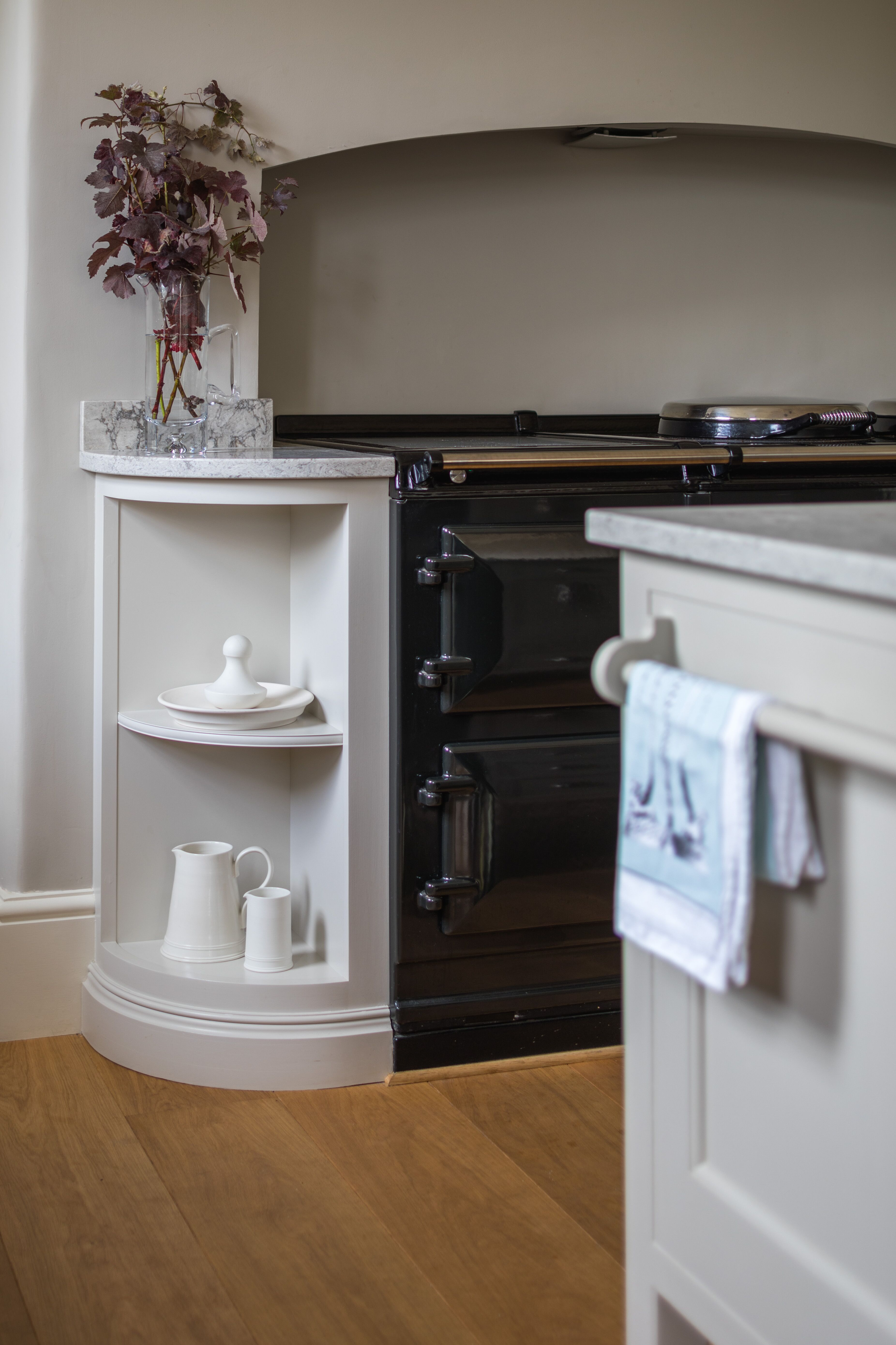 Neat Curved Cabinet Kitchen Styling Painting Bookcase Bespoke Kitchens