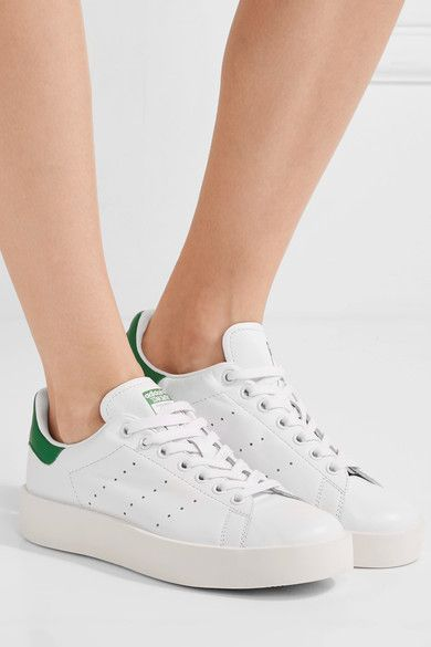 73520add6a adidas Originals - Stan Smith Bold Leather Sneakers - White ...
