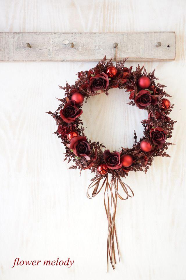 ダークレッドの大人クリスマスリース 販売作品 Christmas Wreaths