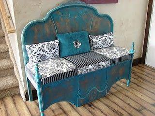 Cabecero reciclado convertido en banco una bonita soluci n para reutilizar una cama antigua - Muebles magarinos ...