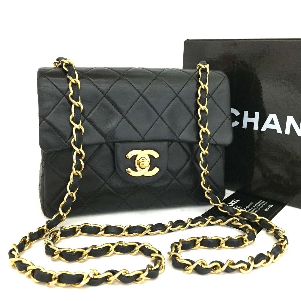951711ffc4b7 CHANEL Quilted 17 Single Flap CC Turn Lock Lambskin Chain Mini Shoulder  Bag/c151 #