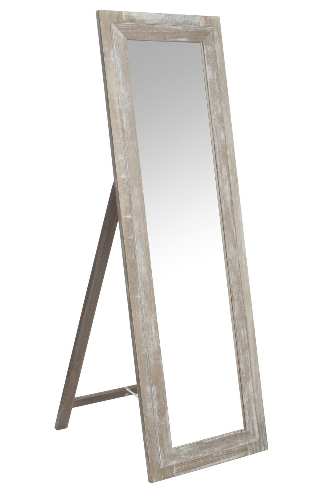 Miroir en bois rectangle sur pied 55x165cm | DECO - Miroir ...