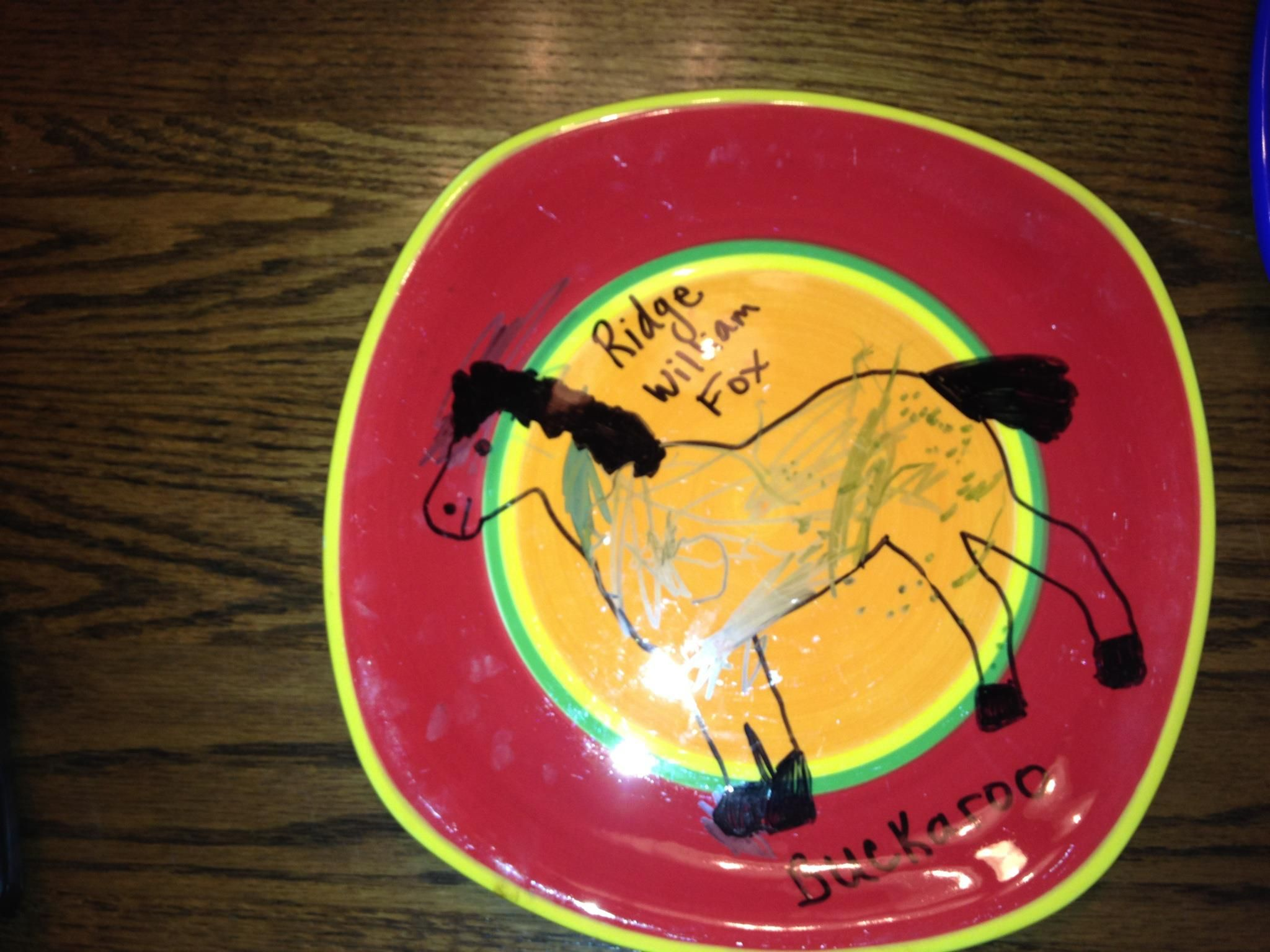 My grandson had fun with this!!!  Permanent Marker, and 350 for 30 min in oven!!!