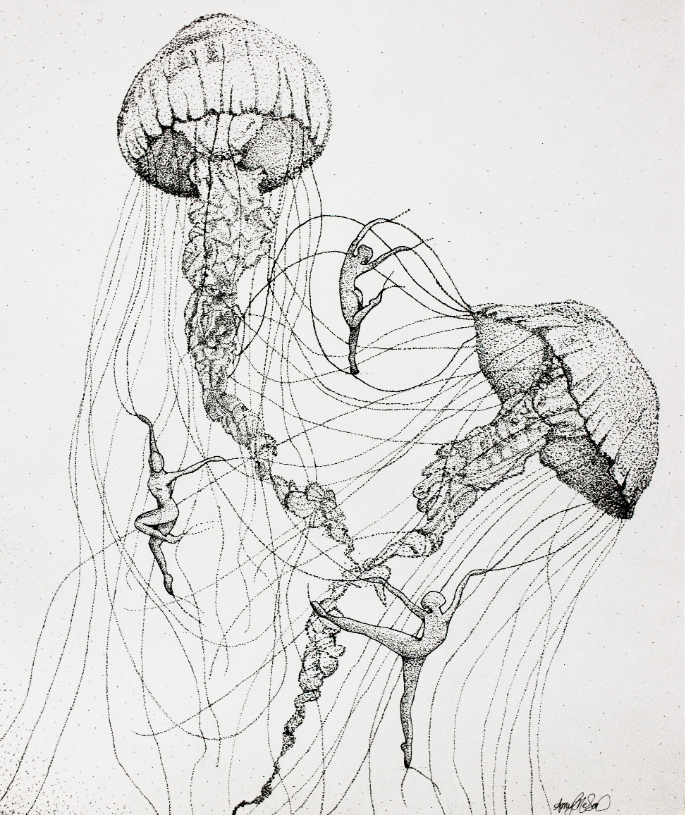 Line Drawing Jellyfish : Jellyfish dancers stippling in ink by amygatorrr pen