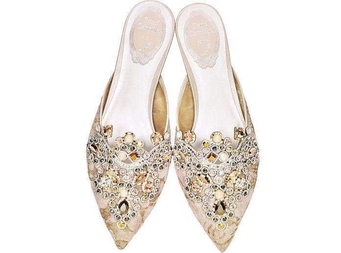 RENé CAOVILLA Designer Shoes, Veneziana Lace and Light Nappa Mule w/Crystals