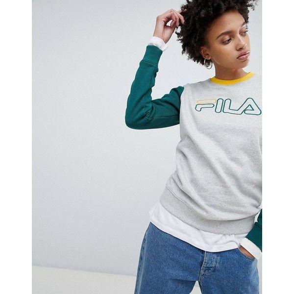 Fila Oversized Sweatshirt With Contrast Arms (€68) ❤ liked on Polyvore  featuring tops, hoodies, sweatshirts, grey, grey crew neck sweatshirt, polo  crew ...