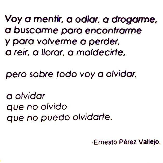 Voy a mentir, a odiar, a drogarme, a buscarme para encontrarme y para volverme a perder, a reir, a llorar, a maldecirte. Pero sobre todo voy a olvidar, a olvidar que no olvido que no puedo olvidarte. —Ernesto Pérez-Vallejo