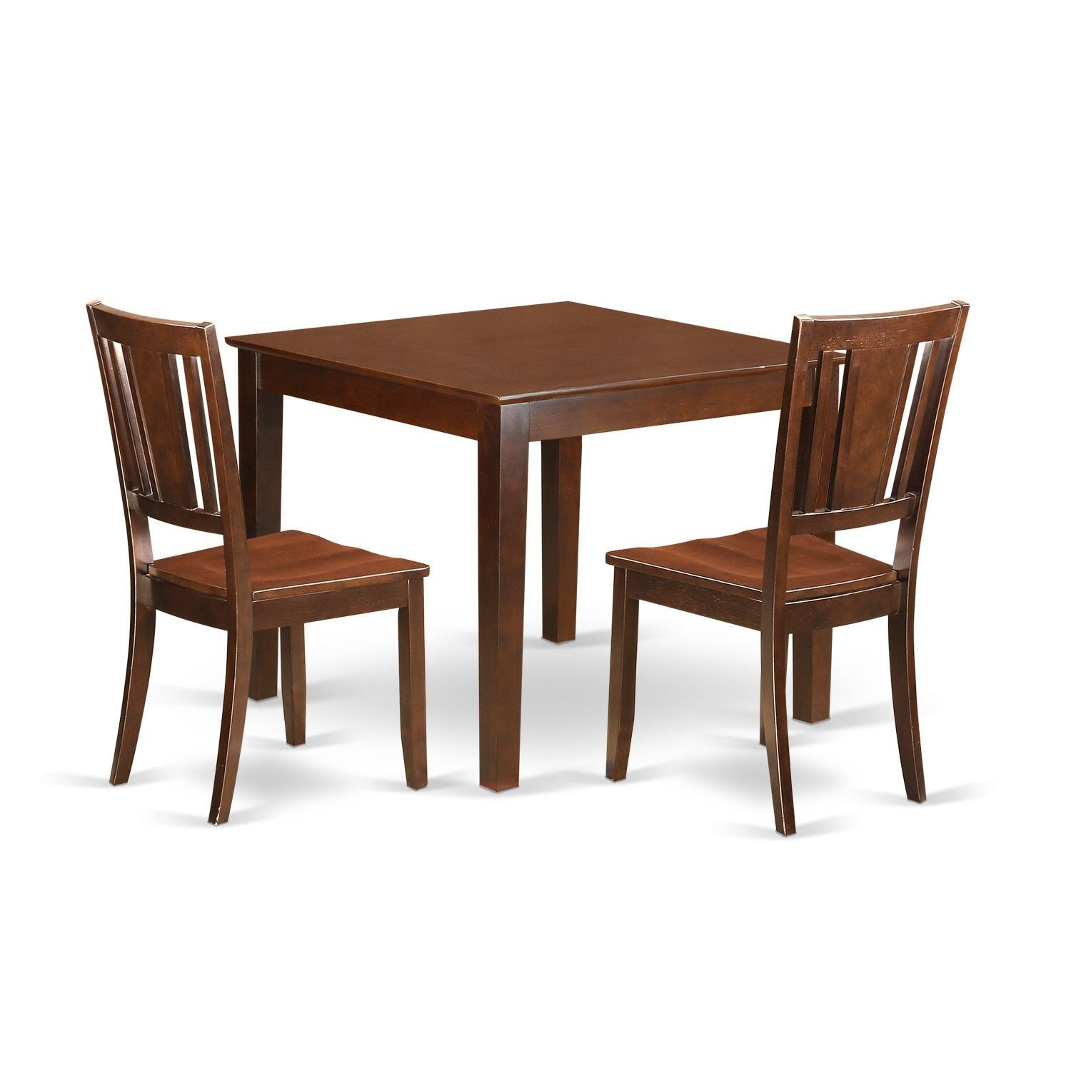 Oxford Mahogany Wood 3 Piece Dining Set Seat Brown Size Sets