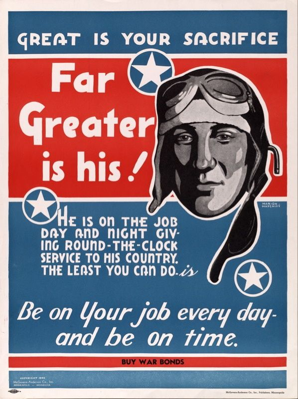 American Wwii Poster Great Is Your Sacrifice Far Greater Is His American Propaganda Wwii Propaganda Wwii Posters