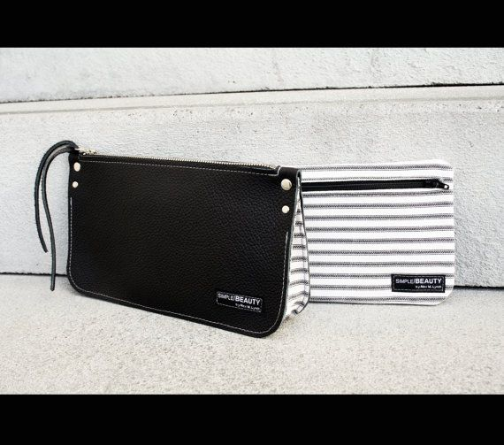 made in USA Zippered heavy canvas pouch with front pockets and leather accents by AlexMLynch