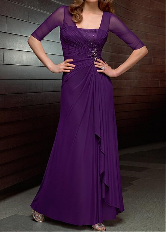 d41625d6836dd Elegant full length Chiffon illusion Mother of the Bride Dress ...