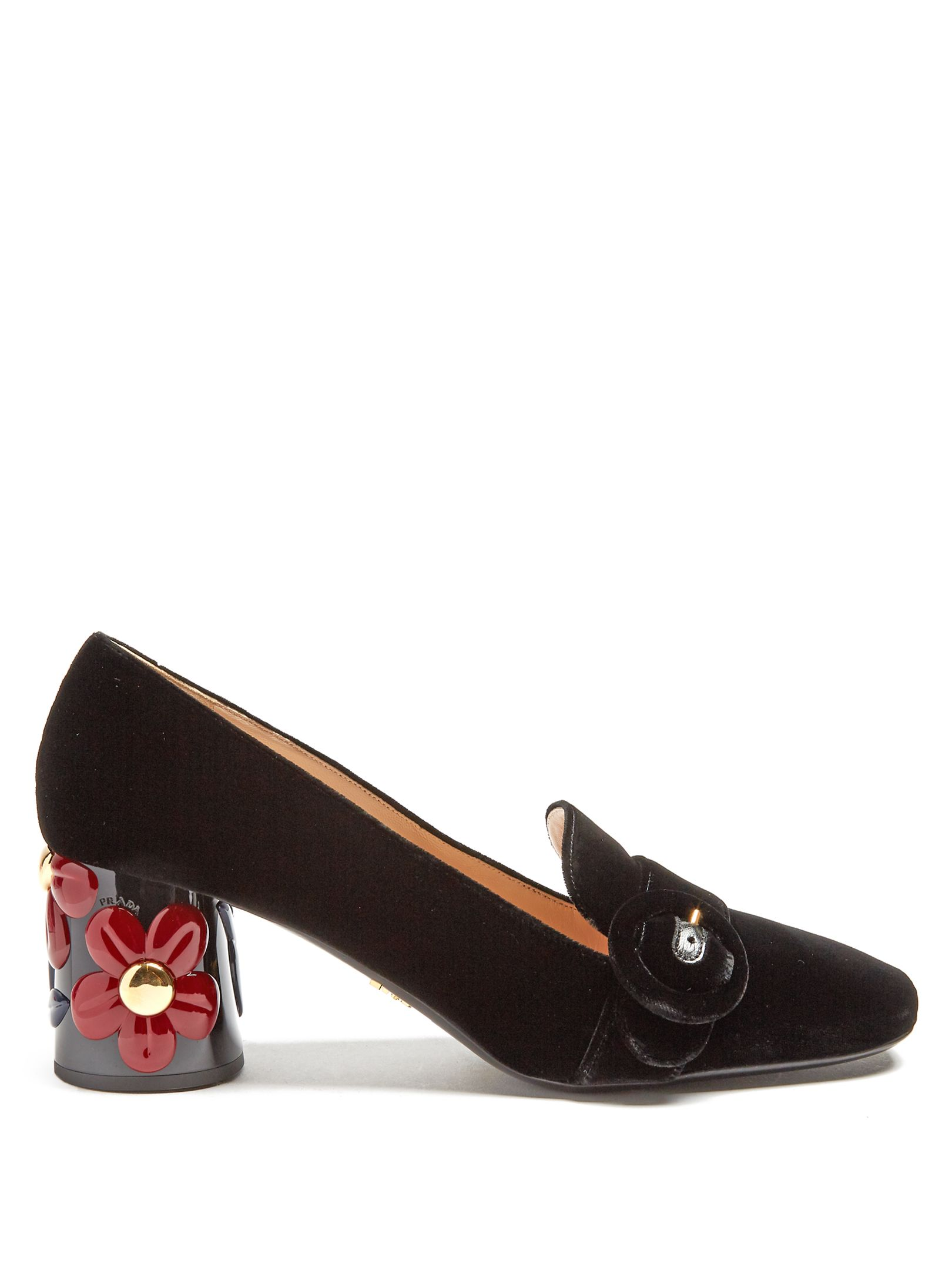 e0d6b724d53 Flower-embossed heel velvet pumps | Prada | MATCHESFASHION.COM | моя ...