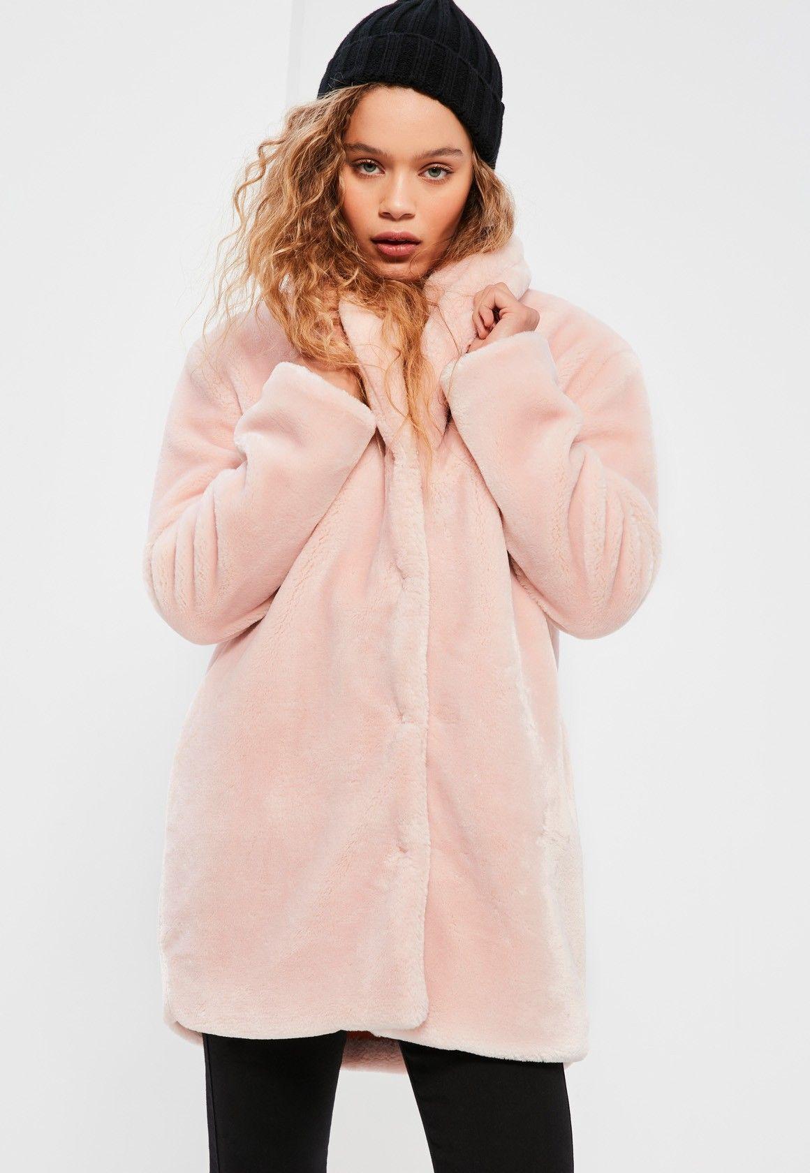 Missguided - Petite Pink Faux Fur Coat | Winter Stuff | Pinterest ...