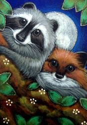 Art: LOVELY RACCOON & RED FOX by Artist Cyra R. Cancel