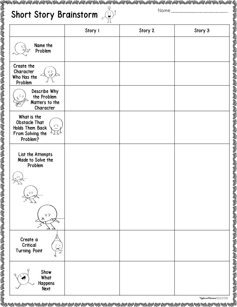 short story planning sheets - graphic organizers for narrative