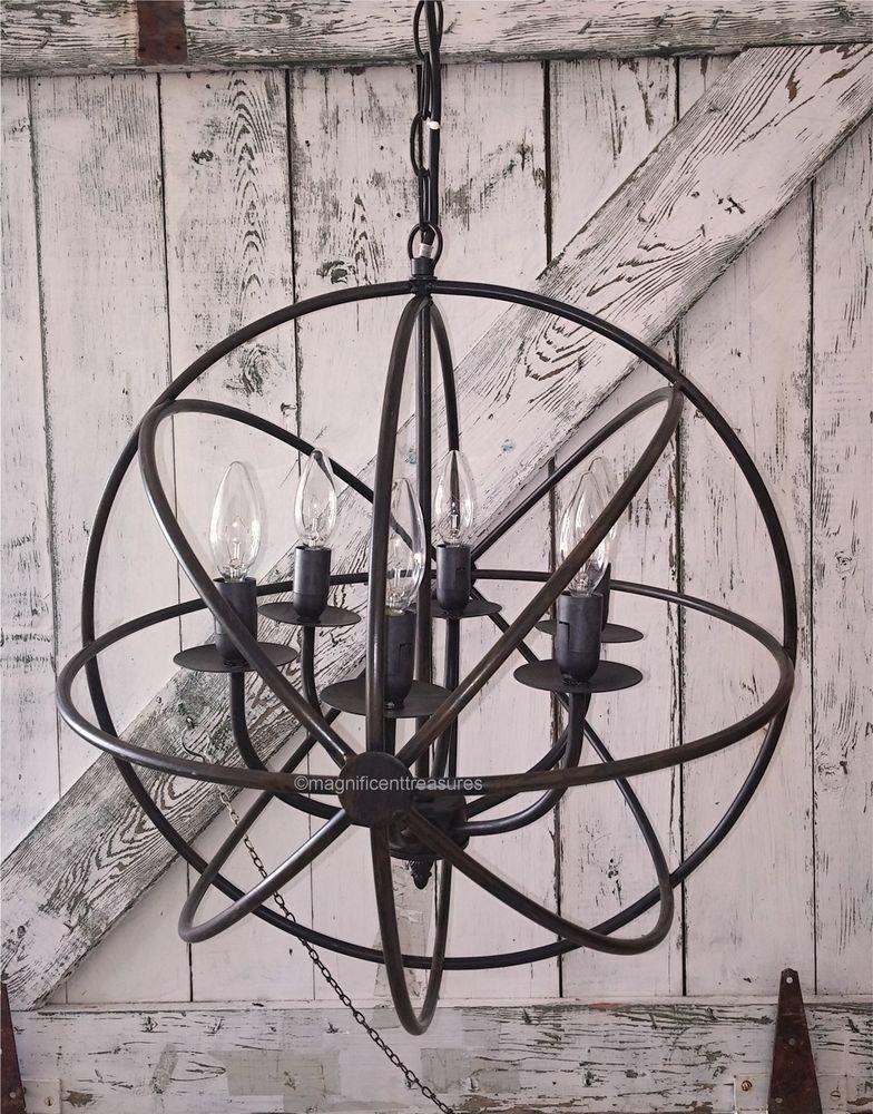 Industrial round chandelier light fixture globe metal for Rustic wire chandelier