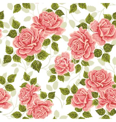 Pink Vintage Rose Pattern Seamless Vector 1714092 By Sticknote On Vectorstock Vintage Floral Backgrounds Red Texture Background Flower Texture