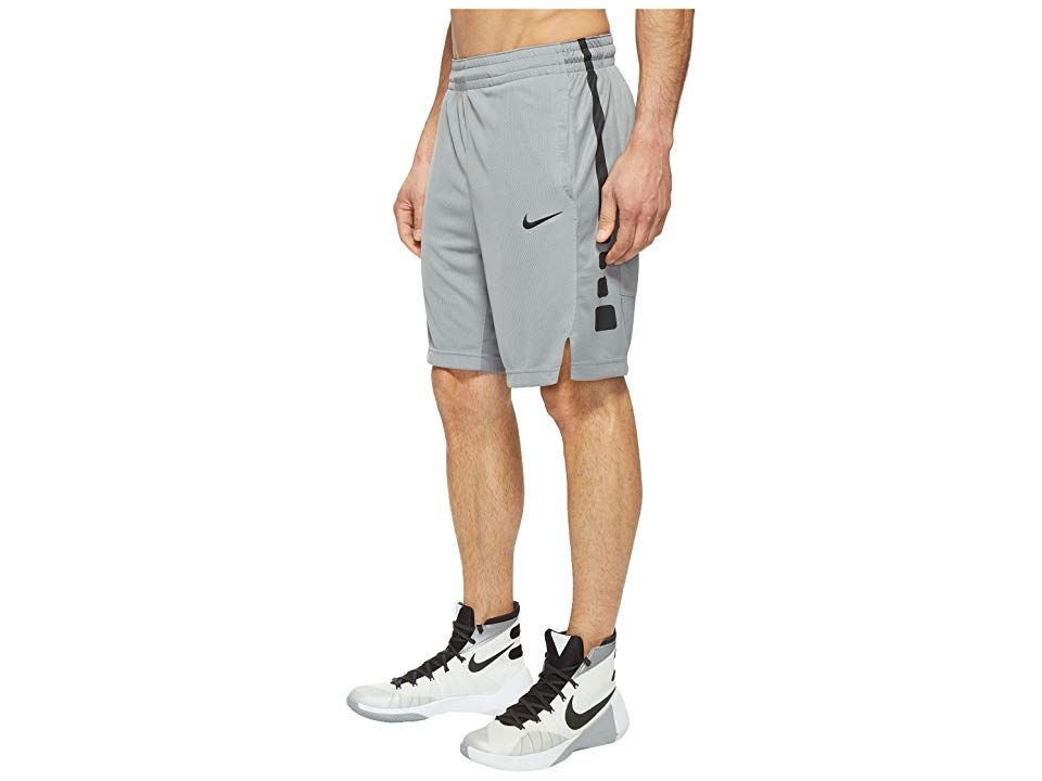 Nike Elite Stripe Basketball Short Cool GreyCool GreyBlackBlack Mens Shorts Drain em from downtown all day long in this performance basketball short Relaxed fit gently dr...