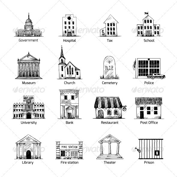 Government Building Icons Set Building Icon Architecture Concept Drawings How To Draw Hands