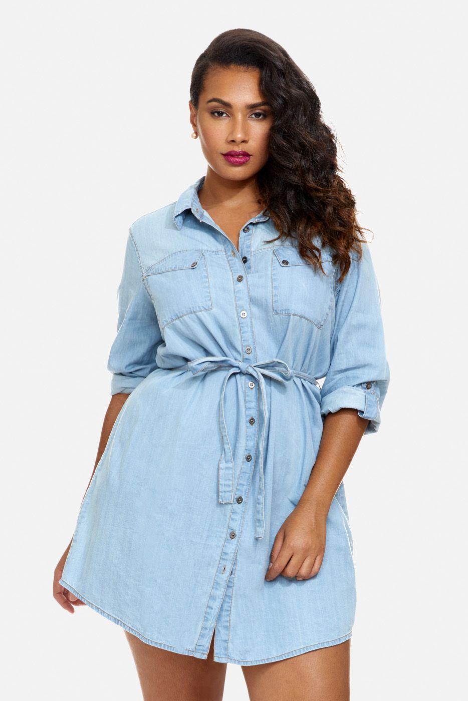Plus Size Sophie Long Sleeve Denim Shirt Dress Fashiontofigure