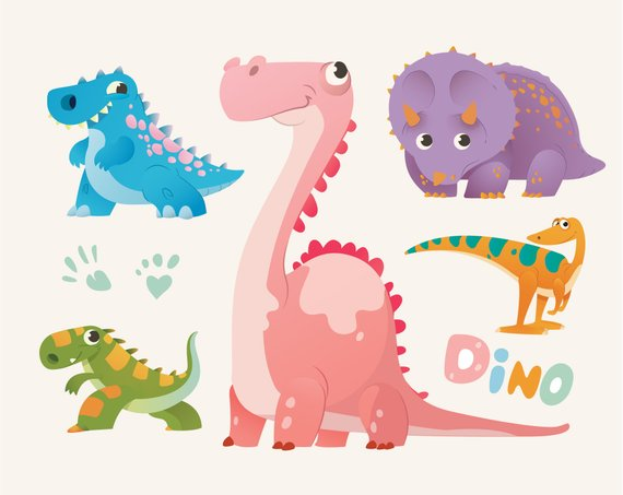 Dinosaurio Clipart Colorful Dinosaurios Set Dino Illustration Instant Digital Download Png Graphic Clip Art Design Stickers Graphic In 2021 Dinosaur Illustration Clip Art Illustration