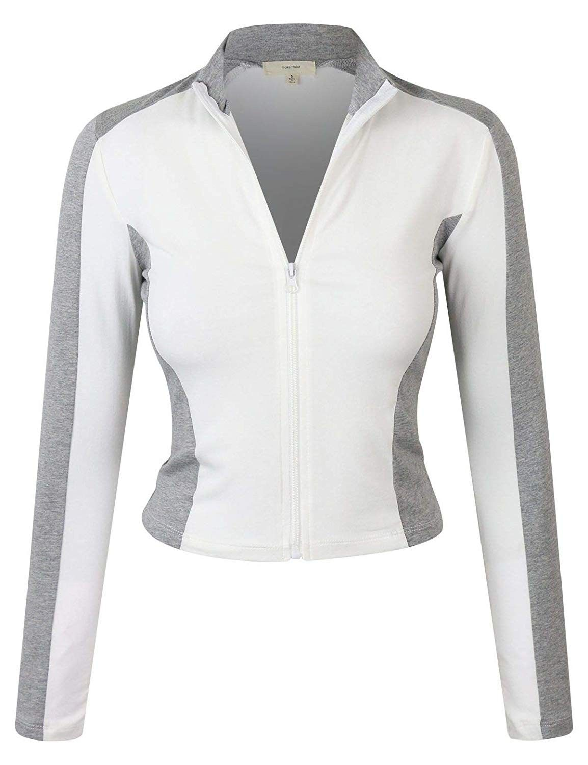 Women's Comfy Zip Up Thin Breathable Yoga Gym Work Out Track Jacket YJZ0080-WHITE-SML - C418OSE3XSY...