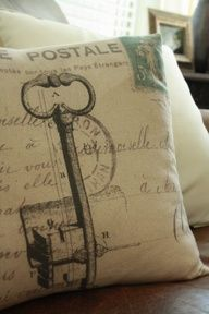 DIY Printed Pillows with vintage keys, scripts  stamps