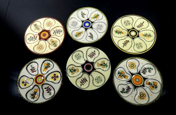 6 French Vintage Quimper Oyster Plates by Vintagefrenchlinens