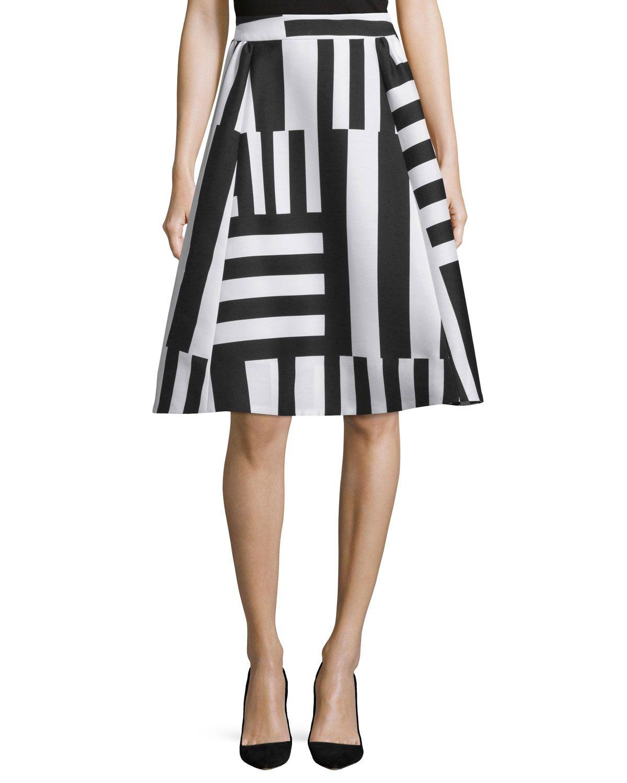striped a-line midi skirt, Women's, Size: 00, Neutral Multi - kate ...