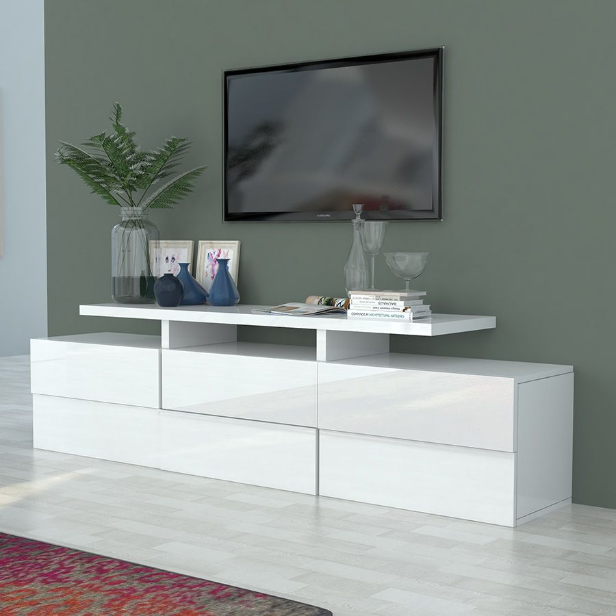 Meuble Tv Blanc Laqu Design Novela Meuble Tv Pinterest  # Meuble Tv Laque Blanc Design
