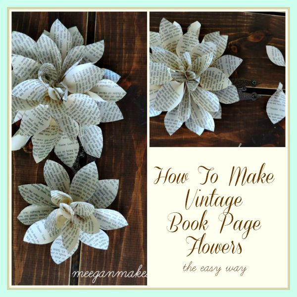 Book page flowers diy pinterest vintage books flowers and beach book page flowers made from vintage book pages are a great trend they are ideal in a cottage farmhouse or beach style home easy to make a great as a gift mightylinksfo