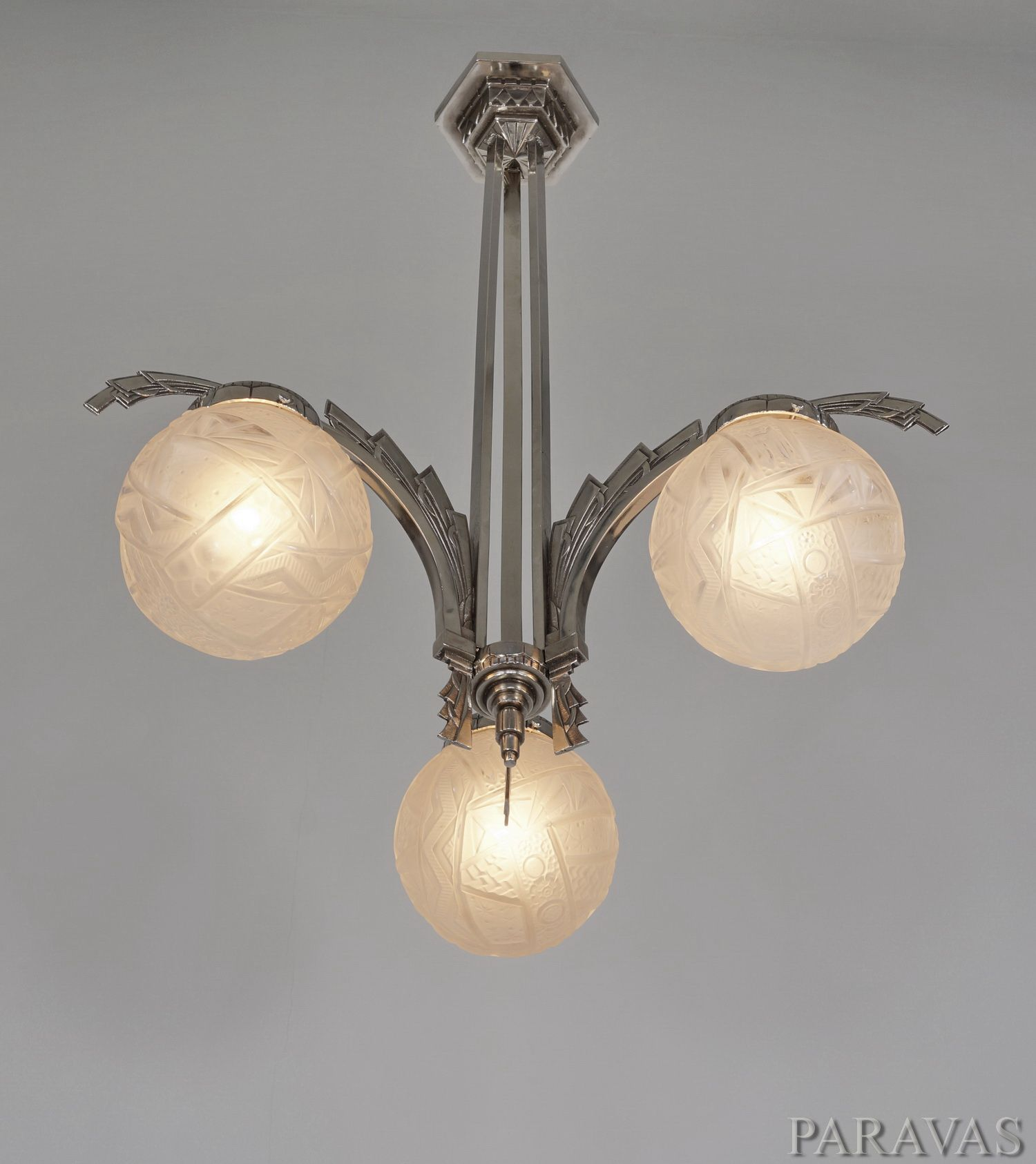 Muller freres: French 1930 art deco chandelier. paravas-ebay