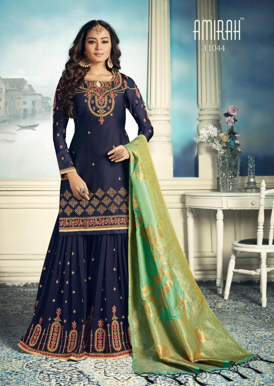 ec603421d4 Amirah Sharara Satin Georgette Heavy Embroidery HandWork Suit 11044 ...