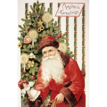 Christmas Greetings Nostalgia Cards Illustration Canvas Art - (18 x
