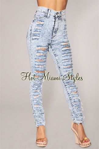 High waisted acid wash ripped skinny jeans – Global fashion jeans ...