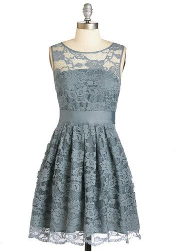 When the Night Comes Dress in Smoke by BB Dakota - Lace, Party, A-line, Sleeveless, Exclusives, Solid, Scoop, Wedding, Sheer, Bridesmaid, Graduation, Daytime Party, Variation, Grey, Blue, Prom, Spring, Top Rated, Lace, Mid-length, Best Seller, Social Placements, Full-Size Run, Pastel