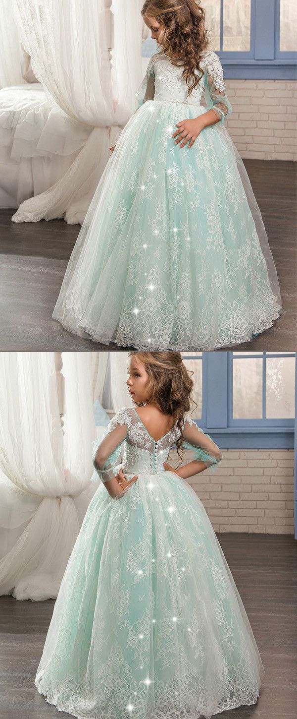 Amazing tulle u lace scoop neckline ball gown flower girl dresses