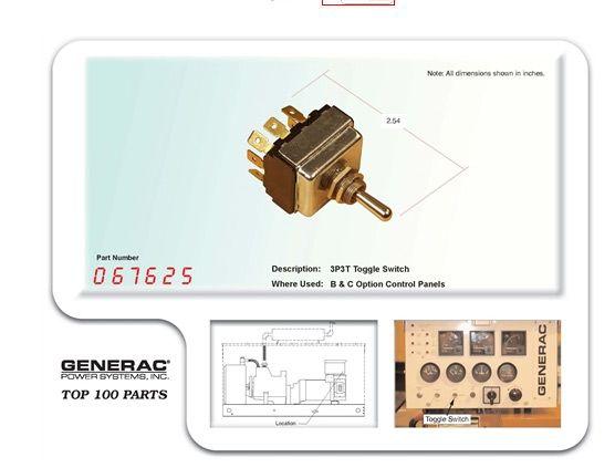 GENERAC 067625 PART SW 3P3T TOGGLE SWITCH | Generac Parts