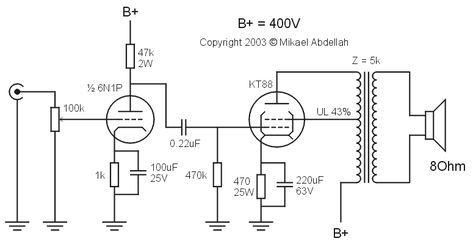 KT88 Single Ended (SE) Tube Amplifier Schematic