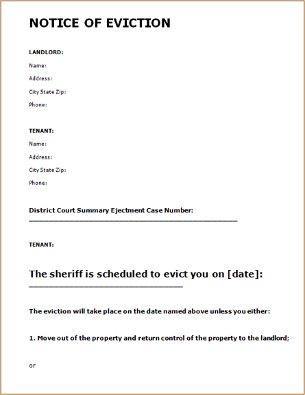 Printable Sample Eviction Notice Form  Letter Of Eviction Sample